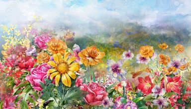 landscape of multicolored flowers watercolor painting style.digital painting